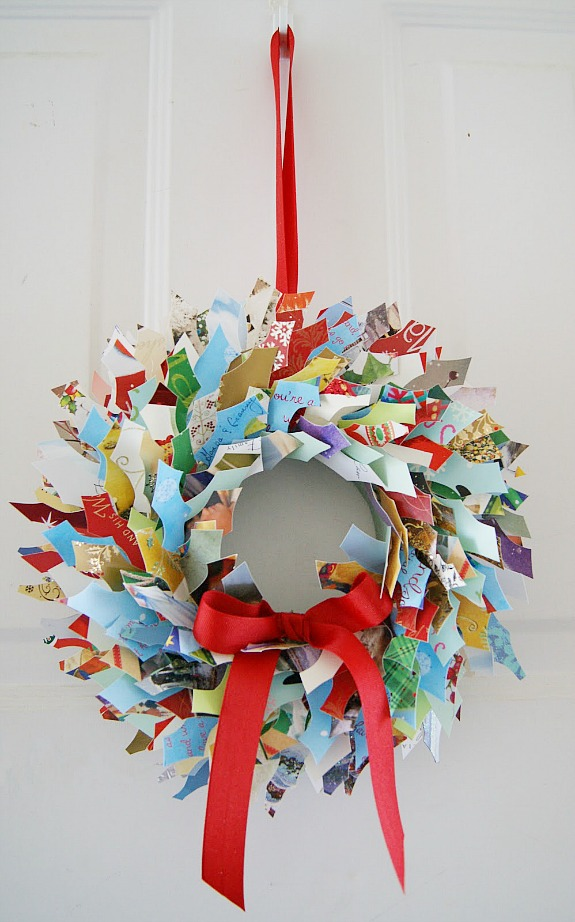 upcycled Christmas card wreath