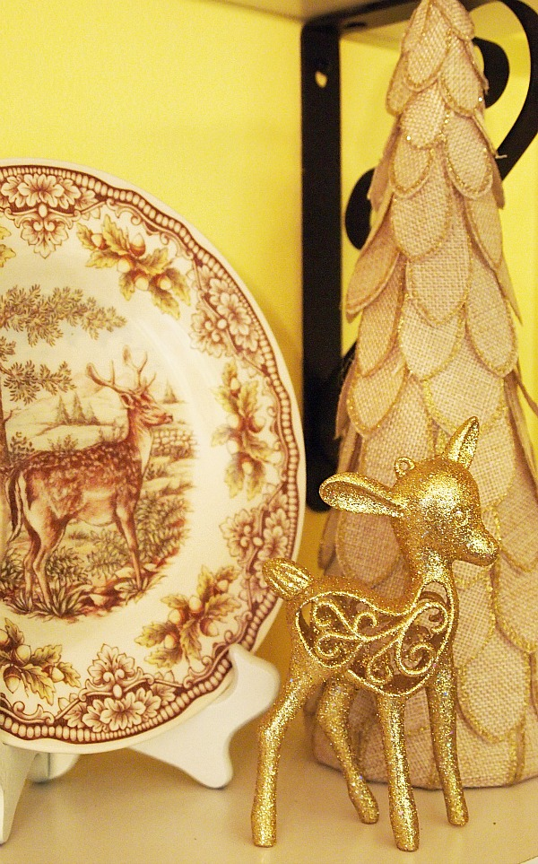 Victorian English Pottery Deer plate and burlap Christmas tree