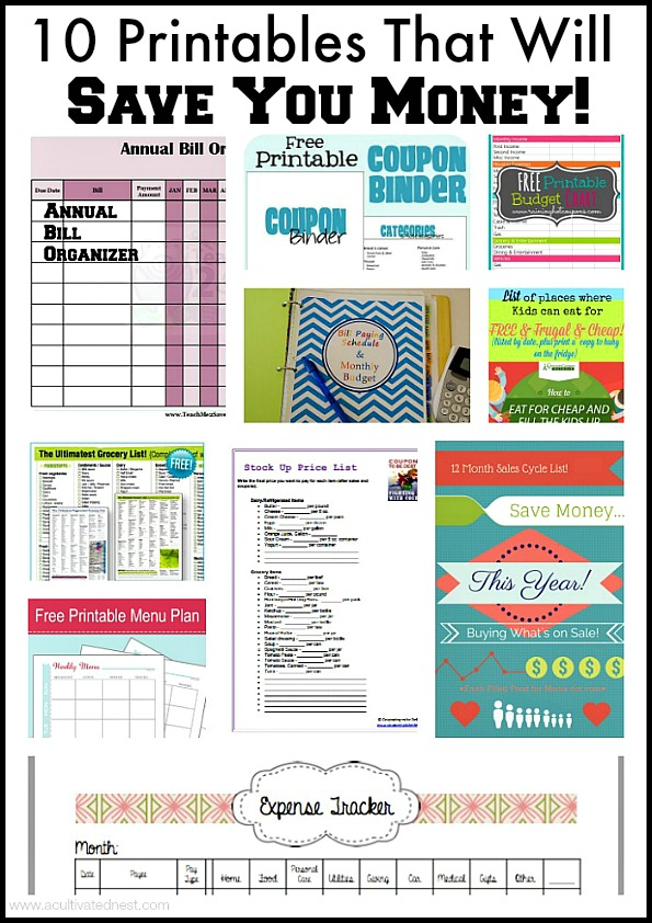 10 Printables that will keep you organized and save you money