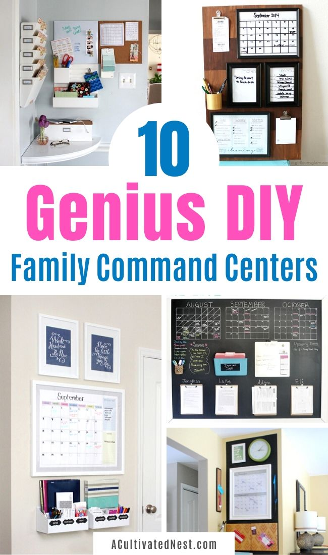 Awesome Ideas for DIY Family Command Centers- It'll be easy to get your family organized if you make a DIY family command center! Check out these genius homemade command centers for inspiration! | #organizingTips #homeOrganization #organize #familyOrganization #ACultivatedNest