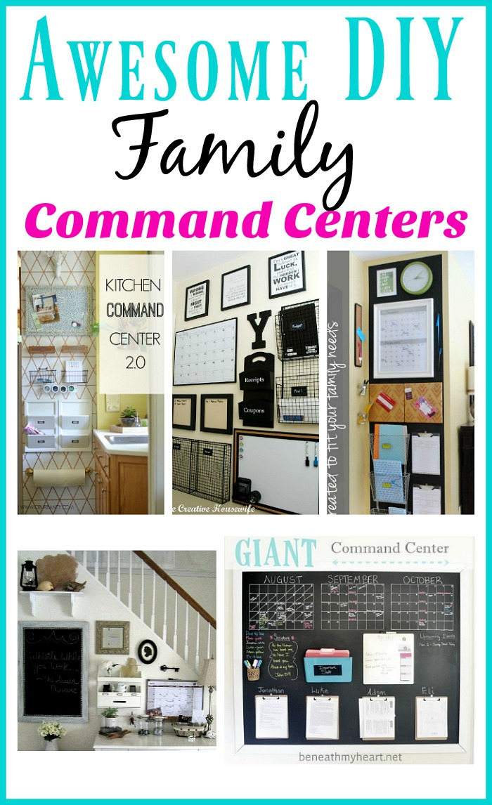 Awesome DIY Family Command Center Ideas - If you're not familiar with the idea of a Family Command Center, it's basically just a one stop family organization area. Here are a few examples that I find inspiring!