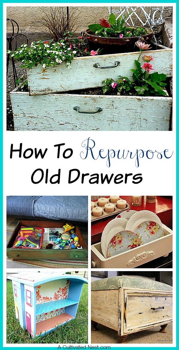 How to Repurpose Old Drawers- Don't throw out the drawers from an old dressers! Check out these Clever Ways to Repurpose Old Drawers! | upcycle, repurpose, reuse, DIY decor ideas