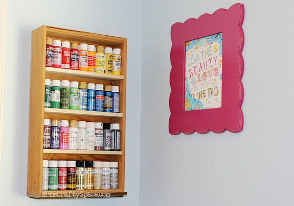 a drawer upcycled into craft storage