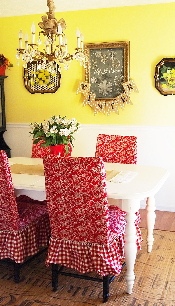 slipcovered dining room chairs & burlap accents