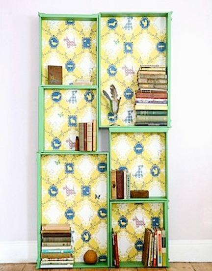 bookcase made from upcycled drawers from Country Living