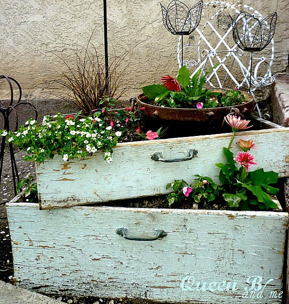 upcycled drawers used as planters