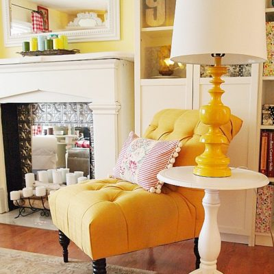 French yellow accent chair