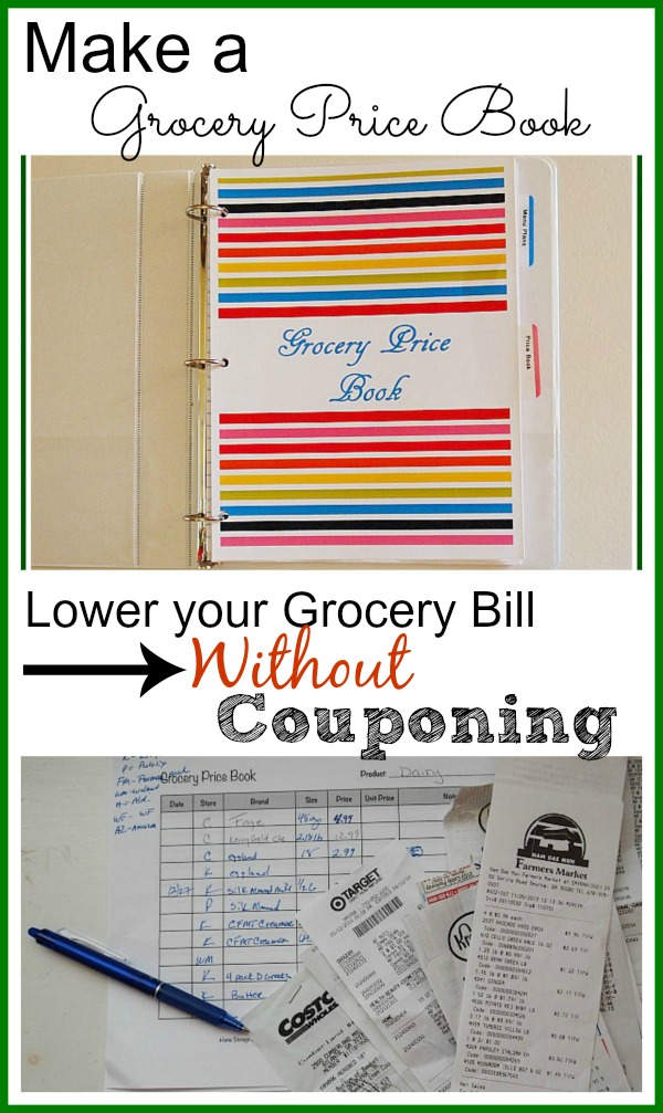 Lower your grocery bill without couponing - learn how to make a grocery store price book