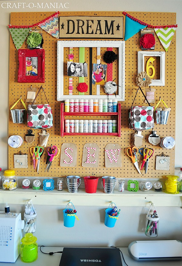 Captivating Craft Oranization Ideas | Pegboard Craft Storage