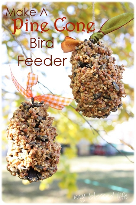 DIY pine cone bird feeder {10 easy homemade birdseed feeders}