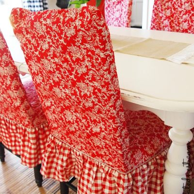 red toile and checks dining room chair slipcover