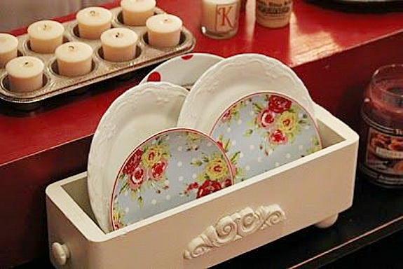 sewing machine drawer used to display dishes by Cozy Little House