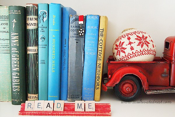 vintage books and scrabble letters