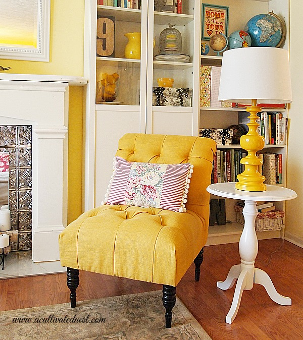 yellow accent chair from Target and yellow lamp from Target - My French Yellow Tufted Chair - A Cultivated Nest