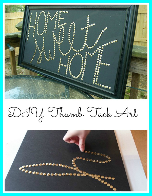 DIY Thumb Tack Wall Art - Super Easy Wall Art Project. I love projects that use ordinary materials to make something extraordinary! #craft #wallart #diyhomedecor #budgetdecorating #homemaking
