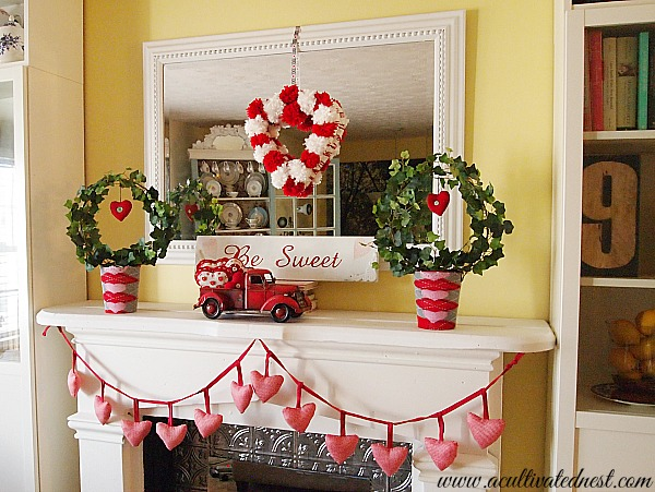 My Cheap & Cheery Valentine's Day Mantel