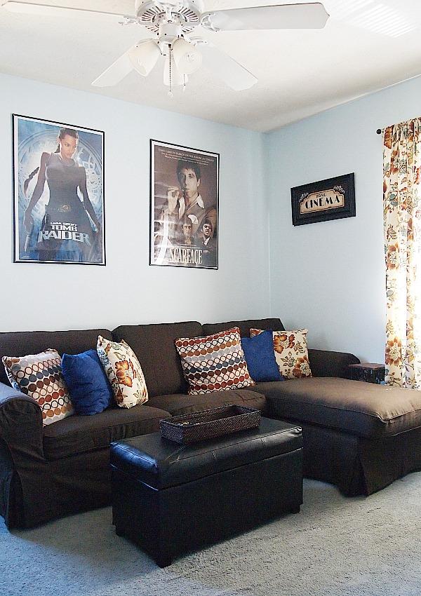Ikea Ektrop sofa with brown slipcover
