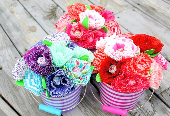 cupcake liner flower bouquets