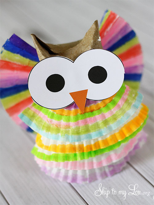cupcake liner owl craft project for kids