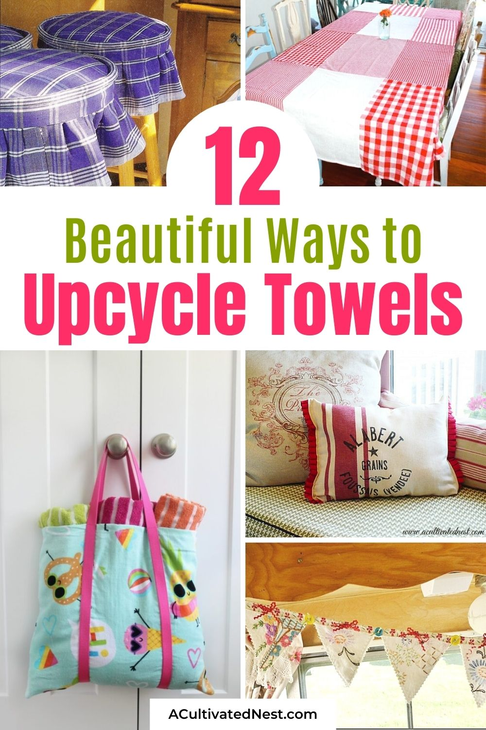 12 Gorgeous Projects Made With Towels- These 12 gorgeous projects made with towels are fun and easy ways to repurpose your old towels! These upcycling DIY projects are sure to inspire you! | sewing projects, upcycle old towels, #sewingProjects #upcycling #reuse #repurpose #ACultivatedNest