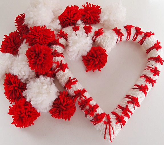 how to make a pom pom Valentine's Day Heart Wreath