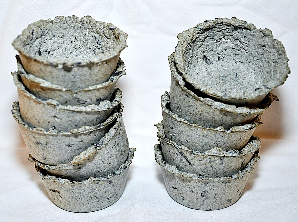 10 Clever Seed Starter Ideas- DIY Paper Pulp Seed Cups- Start your seeds the frugal way with these 10 DIY upcycled seed starting containers! So many inexpensive everyday items can make great seed starters! | DIY seed starting container hacks, how to start seeds, frugal gardening, save money on gardening, gardening tips, upcycled seed starting containers, gardening hacks #gardening #seedStarting #ACultivatedNest