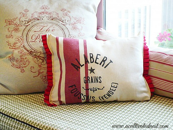 Pillow made from a Target kitchen towel