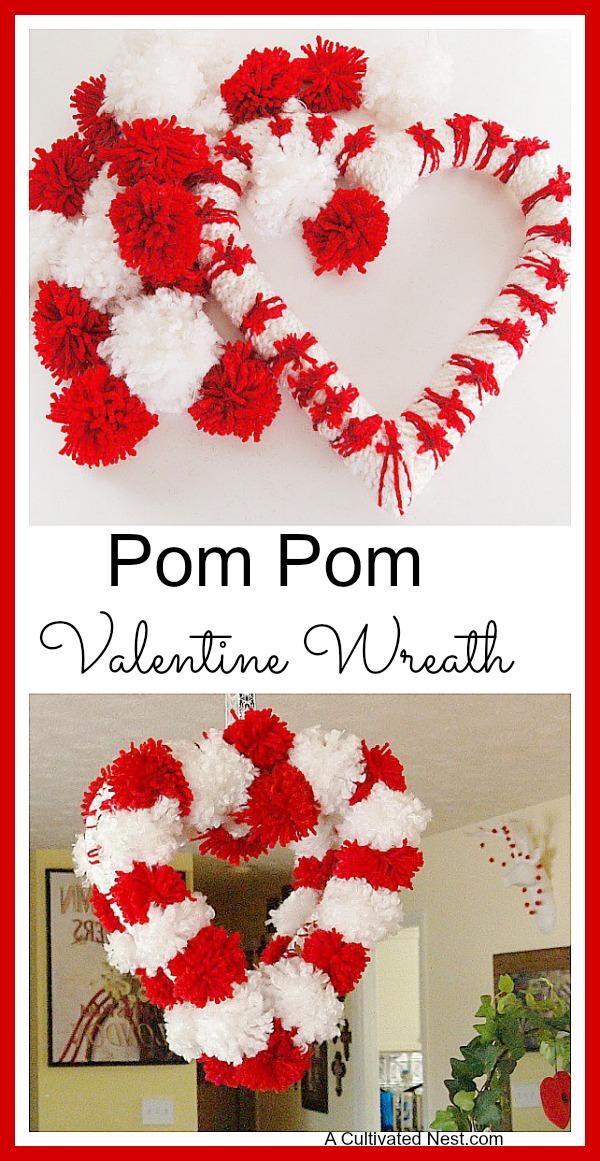 Valentine decorations - pom pom valentine heart wreath