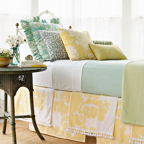 bedskirt made from towels via BHG