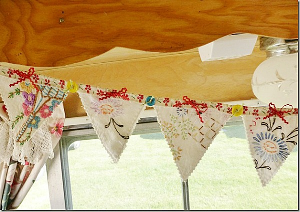 pretty banner made from vintage tea towels
