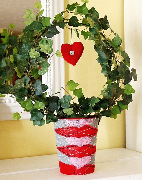 faux ivy pot covered with Valentine's Day sock