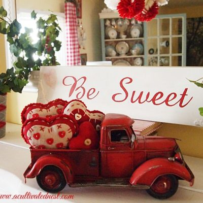 Valentine' Day Mantel - red truck filled with felt hearts