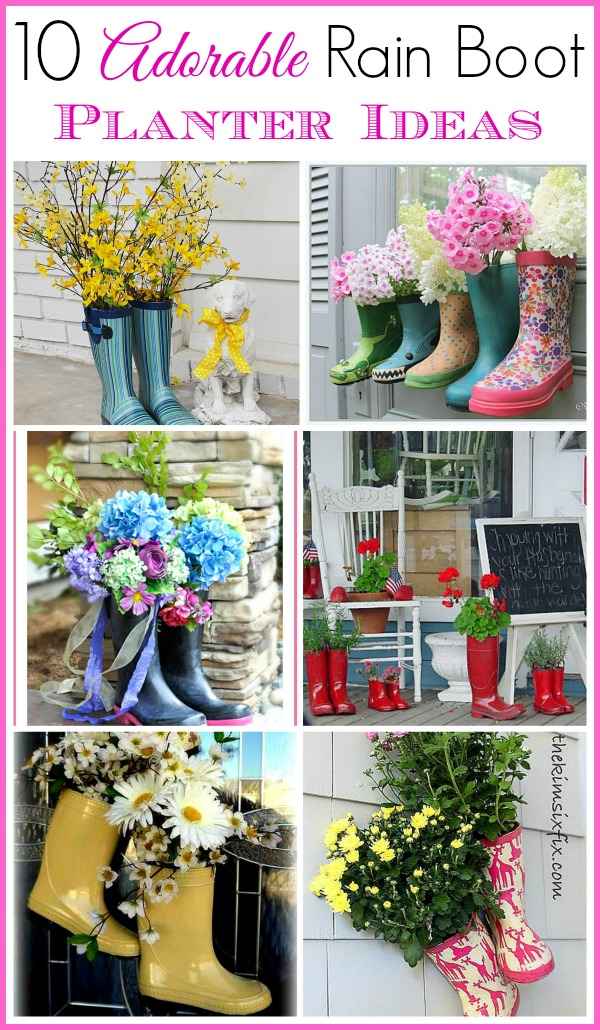 10 Adorable Rain Boot Planter Ideas- A fun and frugal way to decorate for spring is with rain boot planters! They're also a great way to repurpose old or out grown rubber boots! | 10 adorable rain boot planter ideas. Spring decorating ideas for outside, easy spring decorating ideas #spring #flowers#flowerGarden #springDecor #ACultivatedNest