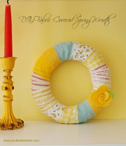 DIY Fabric Wrapped Spring Wreath