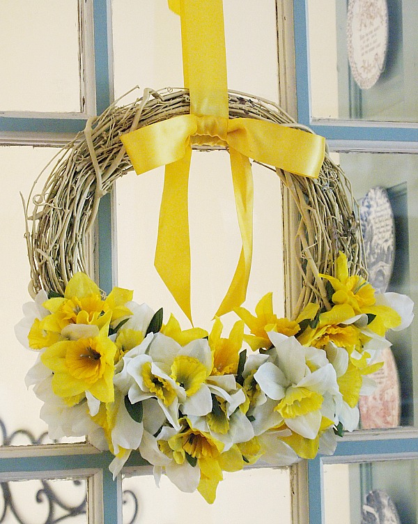 DIY Spring Wreath from Dollar Tree flowers