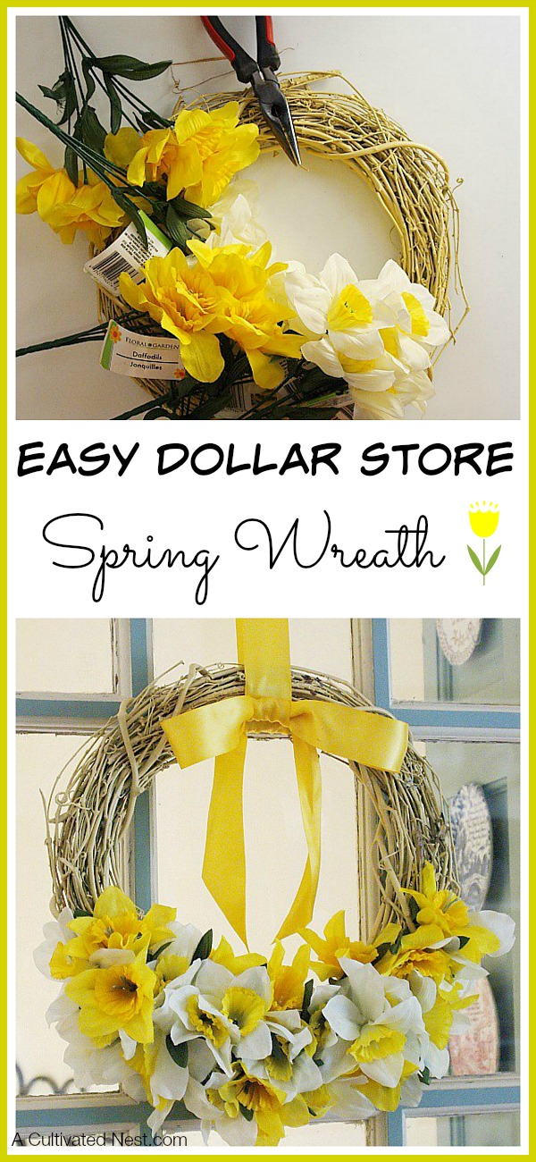 Dollar Store Daffodil Wreath