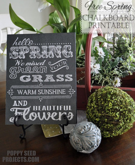10 Free Spring Printables - spring chalkboard printable by Poppy Seed Projects