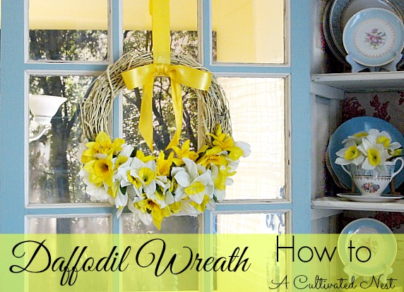 Daffodil Wreath - made from Dollar Store flowers and grapevine wreath - super easy to make!