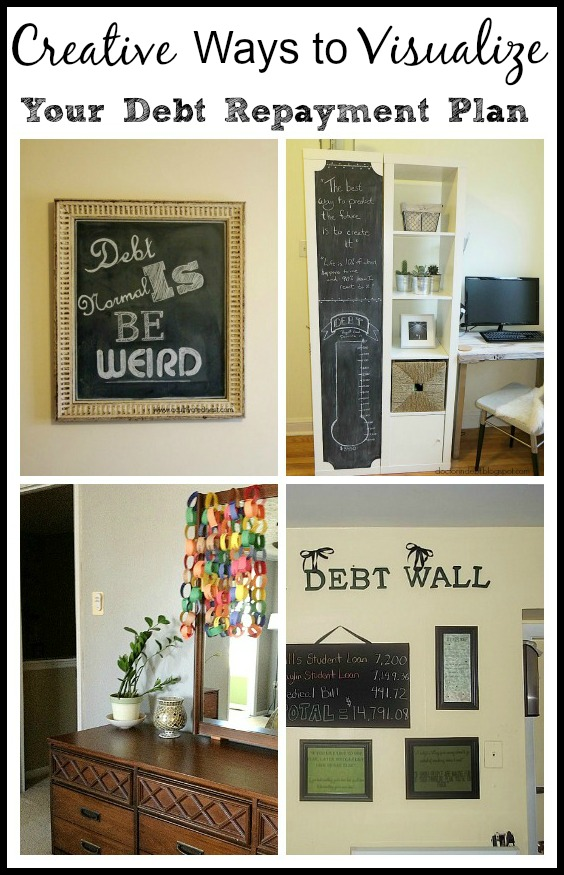 Creative Ways To Visualize Your Debt Repayment- These creative ways to visualize your debt repayment will keep you motivated towards your goal of financial freedom. Take a look to get inspired! | #debt #debtPayoff #frugalLiving #payingOffDebt #ACultivatedNest