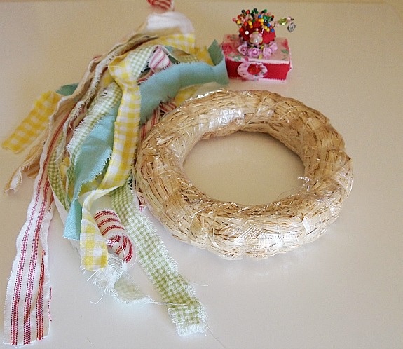 materials needed to make a fabric covered wreath