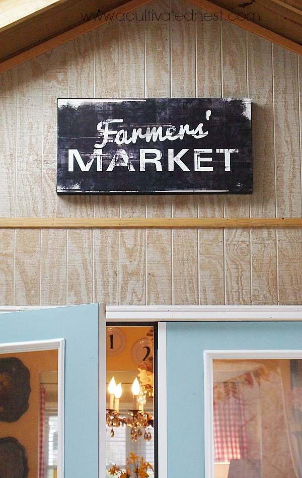 Thrifty Find - Farmer's Market Sign - screened in porch decor