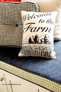 """""""Welcome to the Farm"""" Pillow for the Kitchen Windowseat"""