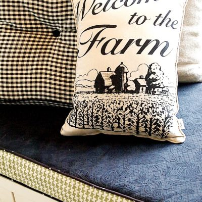 farmhouse style pillow - kitchen window seat