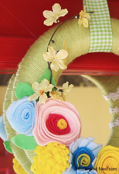Yarn and felt flower spring wreath