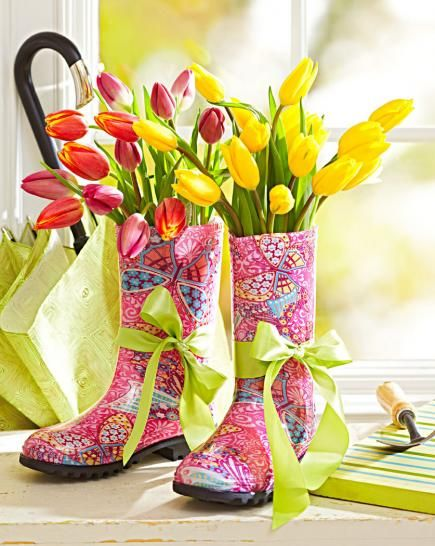 flower boot centerpiece for spring or Easter