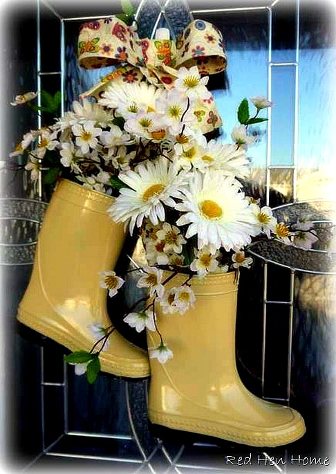 flower boot door wreath