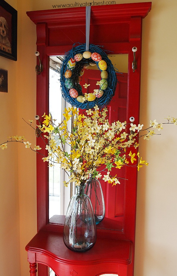 red halltree decorated for spring