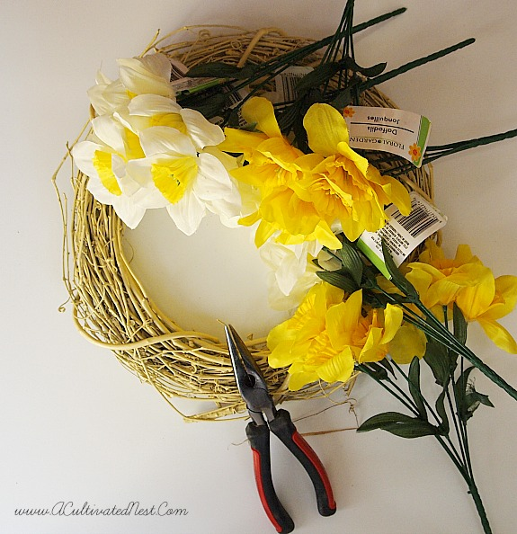 Materials needed for daffodil wreath