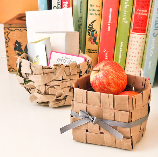 crafting with paper bags - paper bag upcycled into baskets