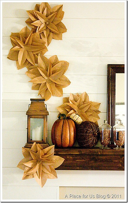 crafting with paper bags - paper bag wall flower garland
